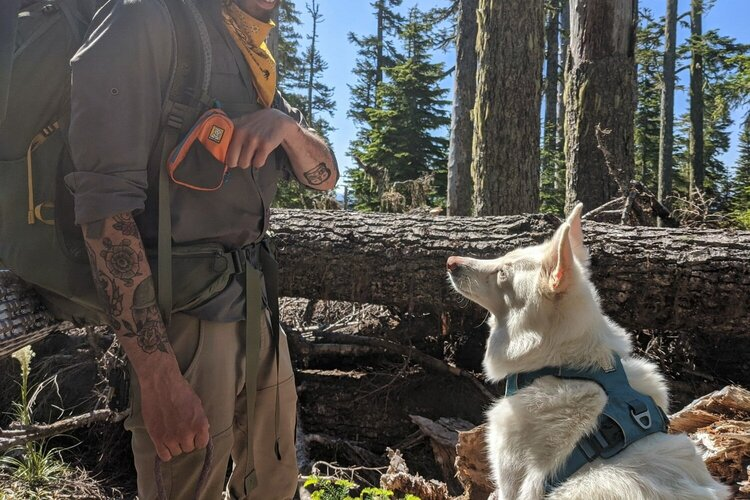 Be sure to bring lots of  training treats  on the trail; we like to carry them in the  Ruffwear Stash bag  for convenience