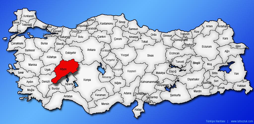 Afyonkarahisar (Afyon) ilinin Türkiye haritasındaki yeri ve konumu nerede?  - Laf Sözlük